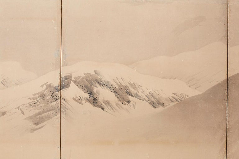Japanese Six-Panel Screen Snowscape after Maruyama Okyo For Sale 3
