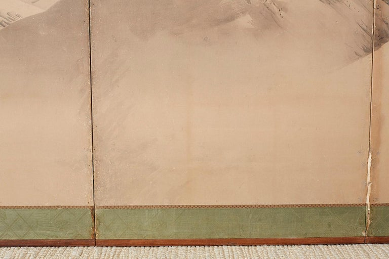 Japanese Six-Panel Screen Snowscape after Maruyama Okyo For Sale 4
