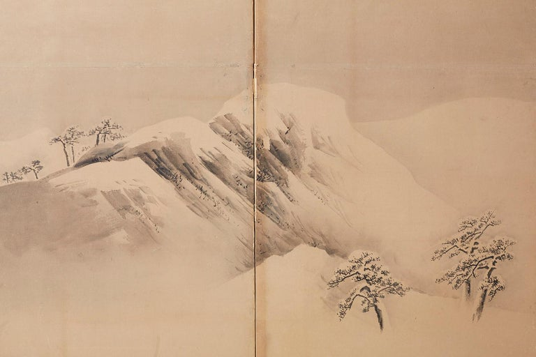 Japanese Six-Panel Screen Snowscape after Maruyama Okyo For Sale 5