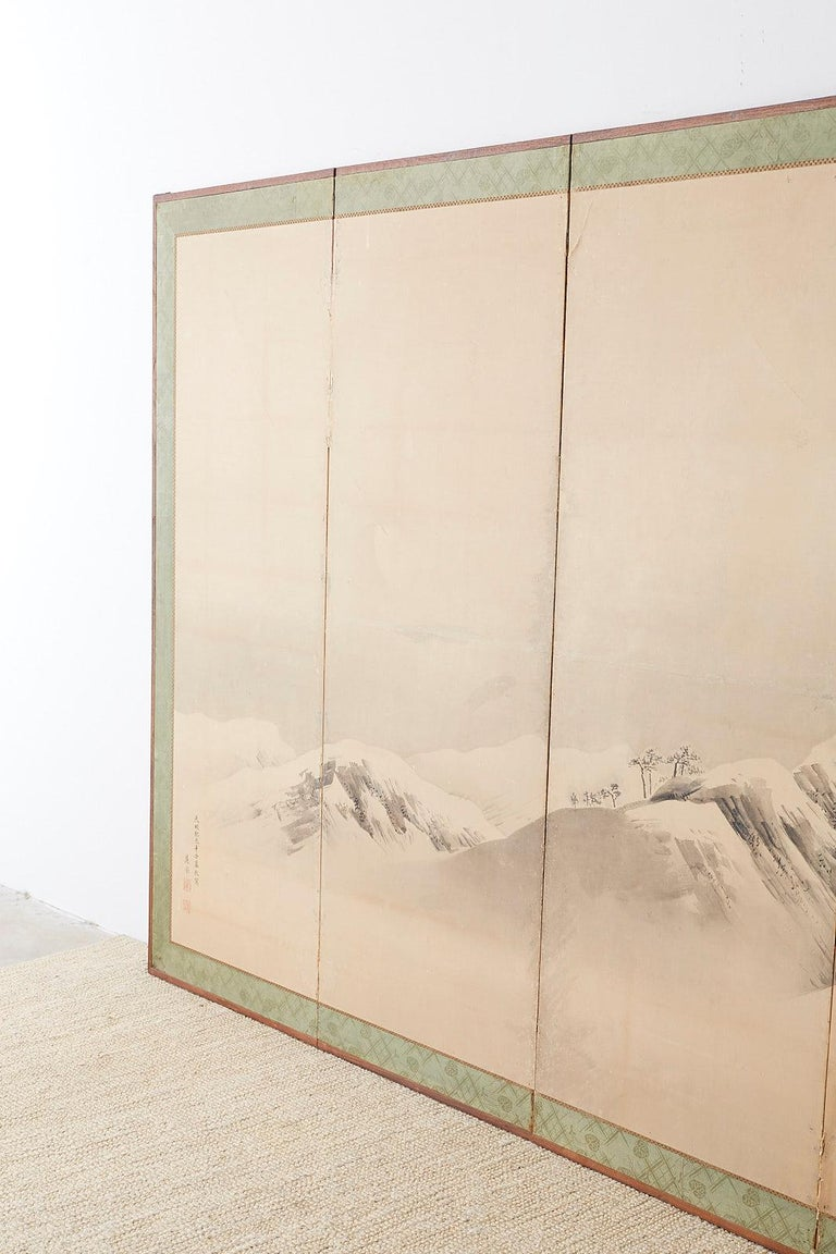 Japanese Six-Panel Screen Snowscape after Maruyama Okyo For Sale 9