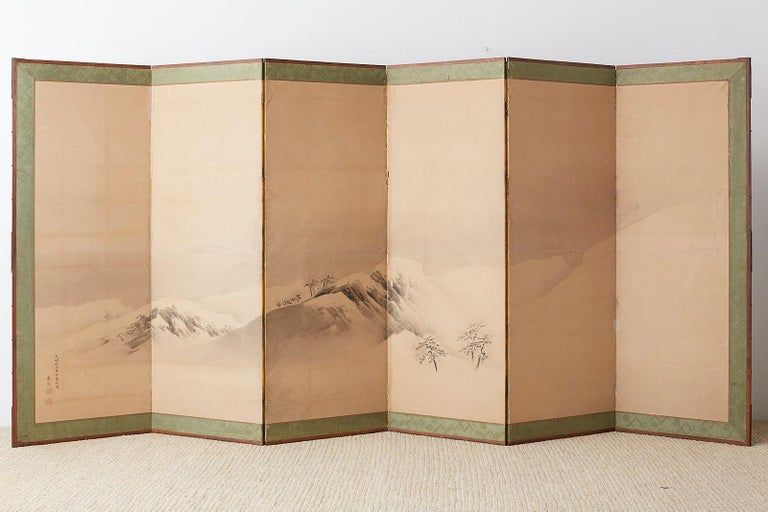 Japanese Six-Panel Screen Snowscape after Maruyama Okyo For Sale 10