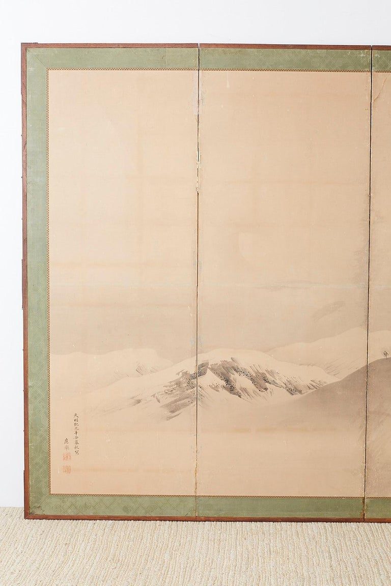 Meiji Japanese Six-Panel Screen Snowscape after Maruyama Okyo For Sale
