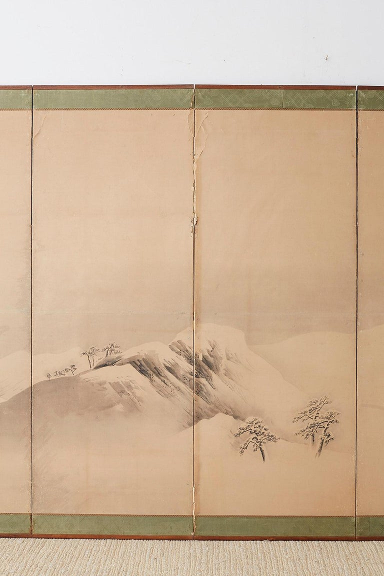 Hand-Crafted Japanese Six-Panel Screen Snowscape after Maruyama Okyo For Sale