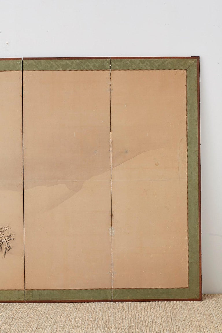 Japanese Six-Panel Screen Snowscape after Maruyama Okyo In Distressed Condition For Sale In Oakland, CA