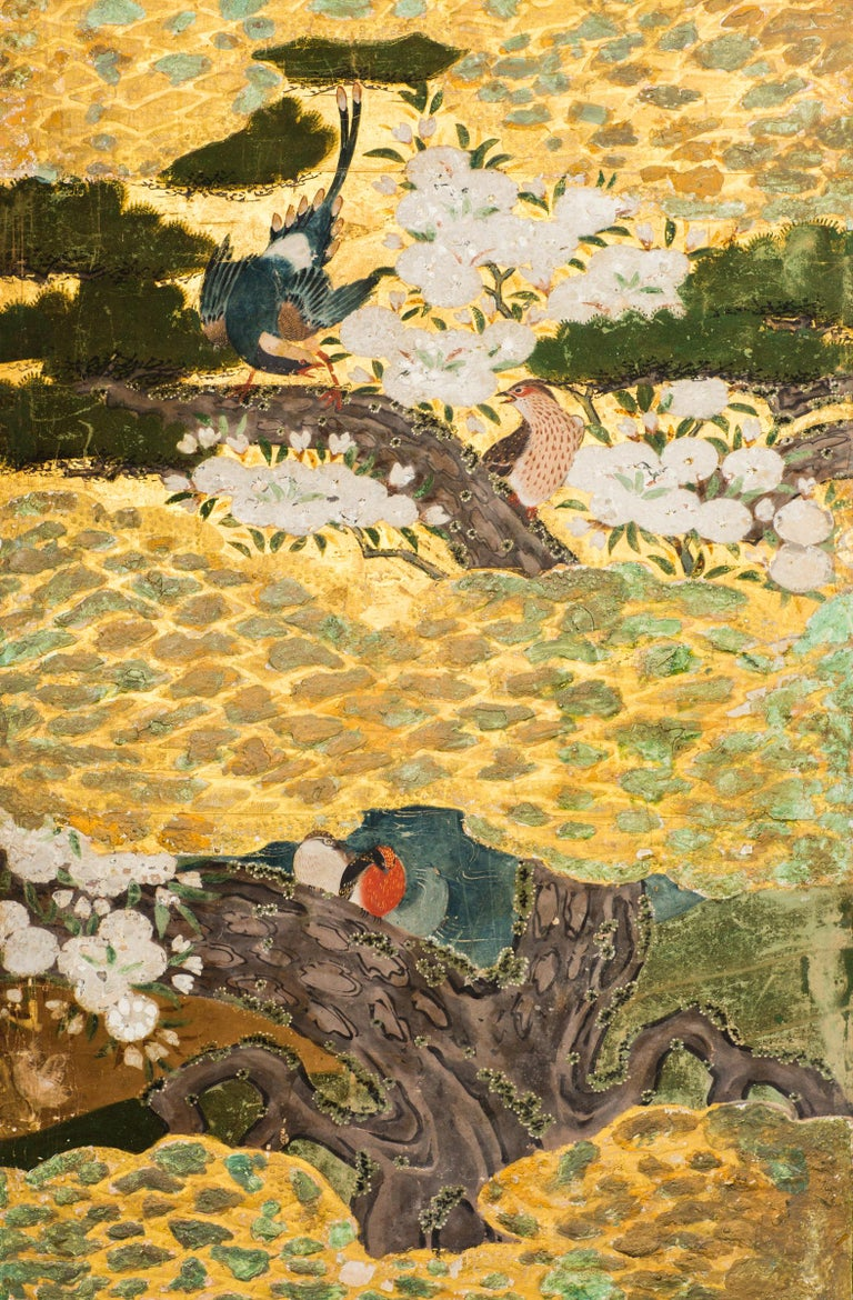 18th Century and Earlier Japanese Six Panel Screen Spring into Summer For Sale