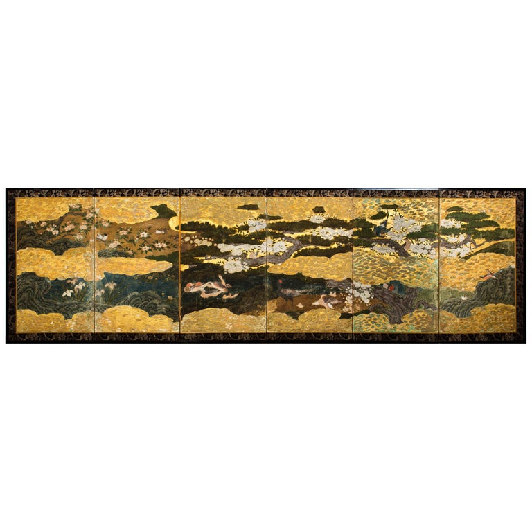 Japanese Six Panel Screen Spring into Summer For Sale