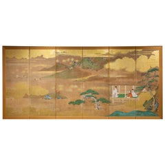 Japanese Six Panel Screen Tosa Painting of Lord Genji Gazing Out over Lake Biwa