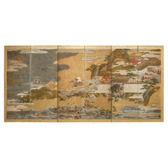 Japanese Six Panel Screen Tosa School Painting of the Battle of Ichinotani