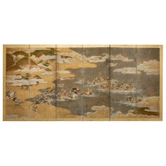 Japanese Six-Panel Screen Tosa School Painting of the Battle of Yashima