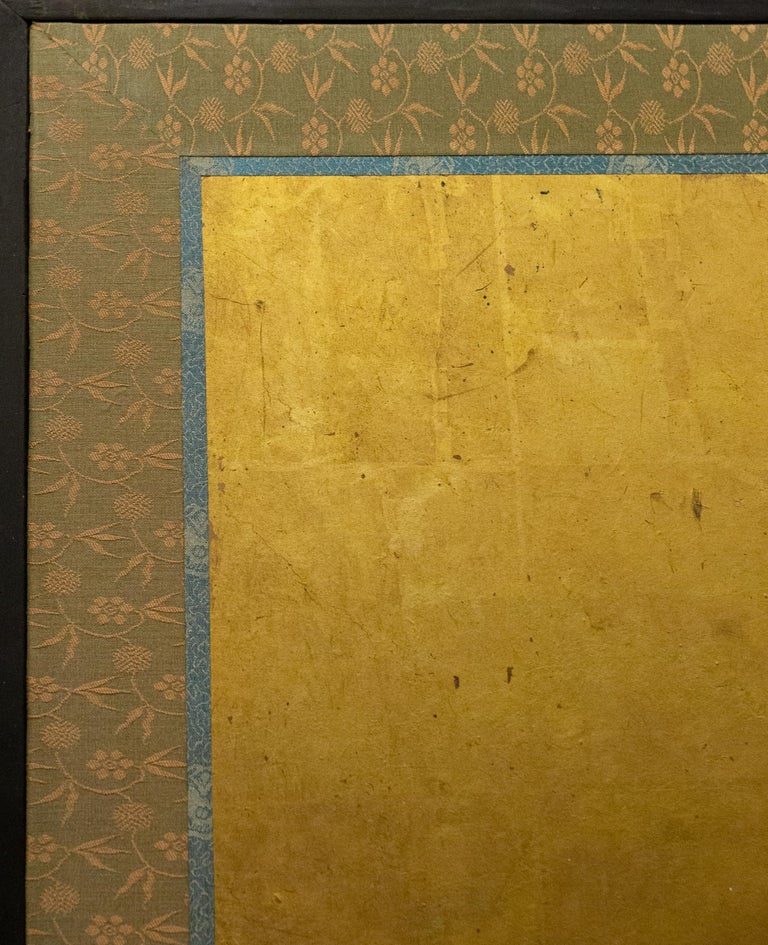 Japanese Six Panel Screen Tropical Garden For Sale 5