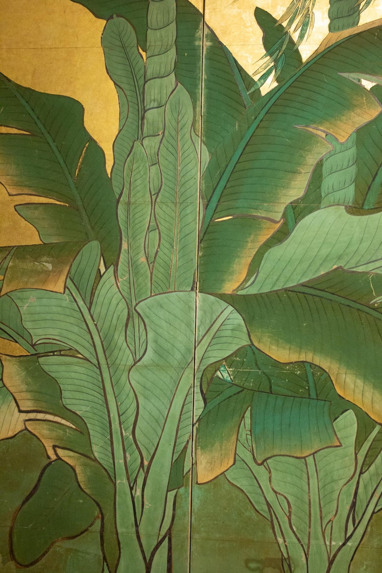 Gold Leaf Japanese Six Panel Screen Tropical Garden For Sale