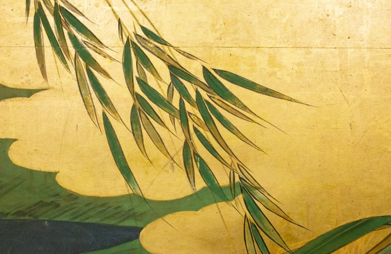 Japanese Six Panel Screen Tropical Garden For Sale 3