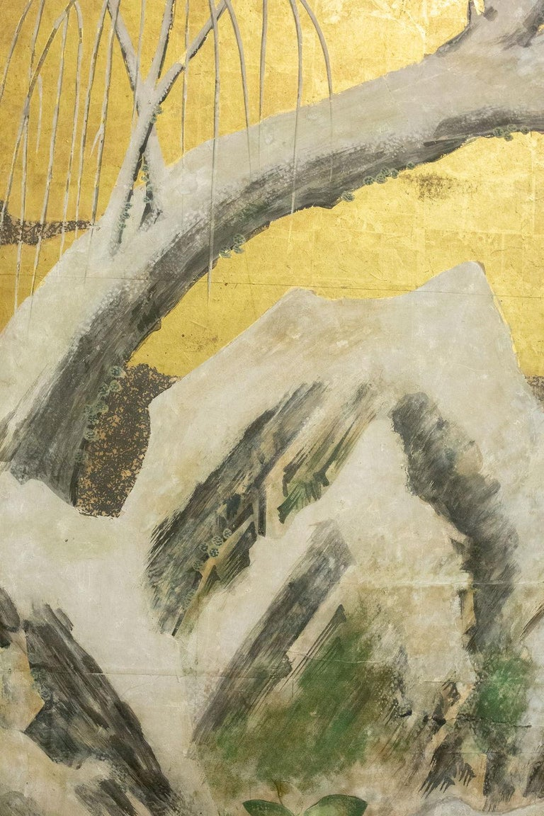With snow-covered willow tree, garden stone and winter berries. Right panels have spring flowers and a view of hills in the distance (likely the Higashiyama Hills painted in Kyoto by a Kyoto- based artist). Beautifully painted mineral pigments on