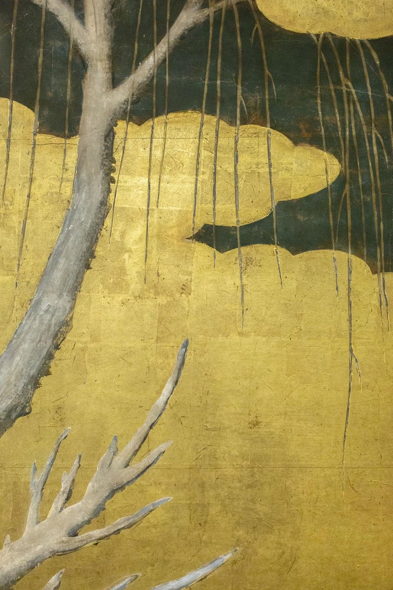 Edo Japanese Six-Panel Screen Winter Into Spring For Sale