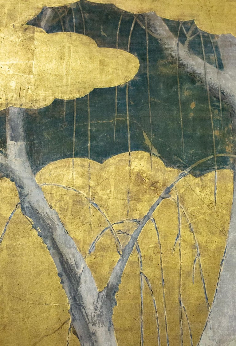 Japanese Six-Panel Screen Winter Into Spring In Good Condition For Sale In Hudson, NY