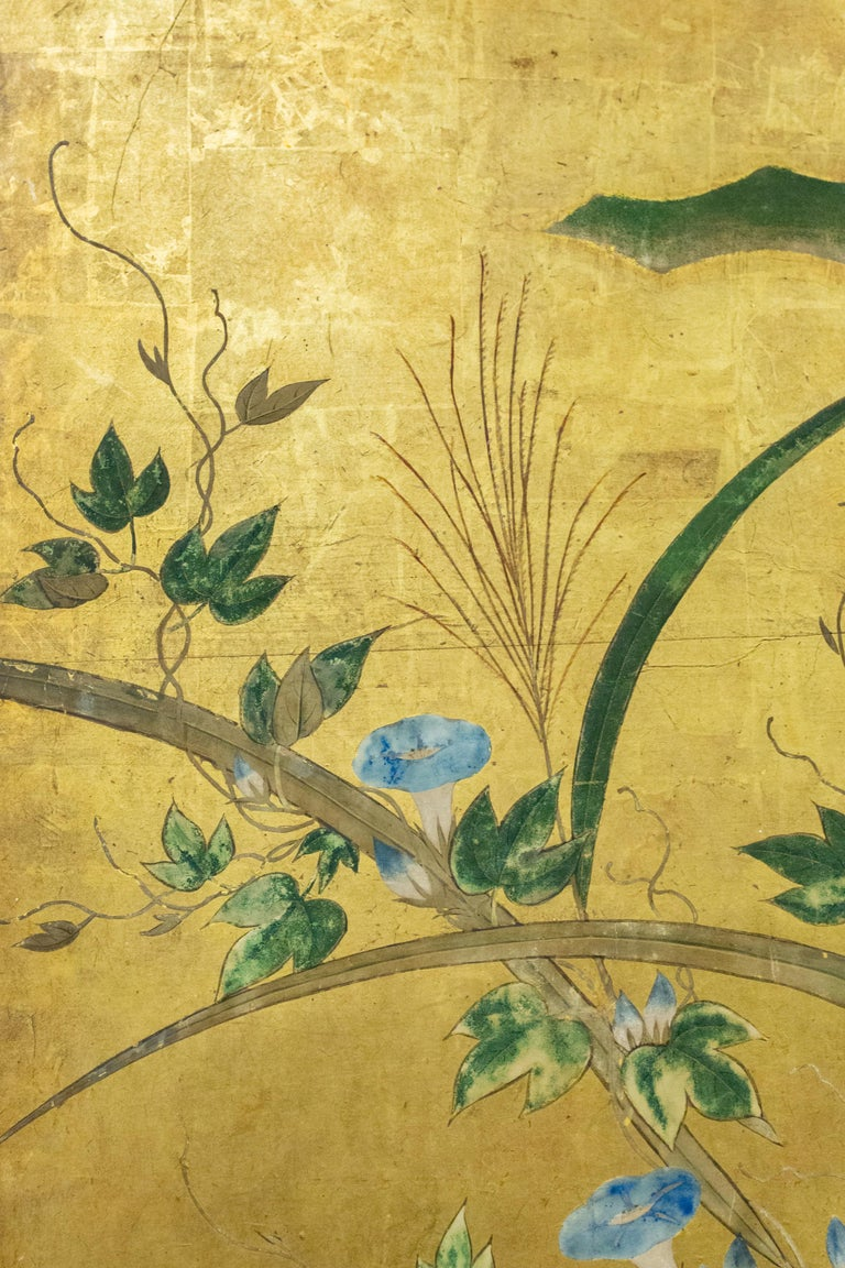 Silk Japanese Six-Panel Screen Winter Into Spring For Sale