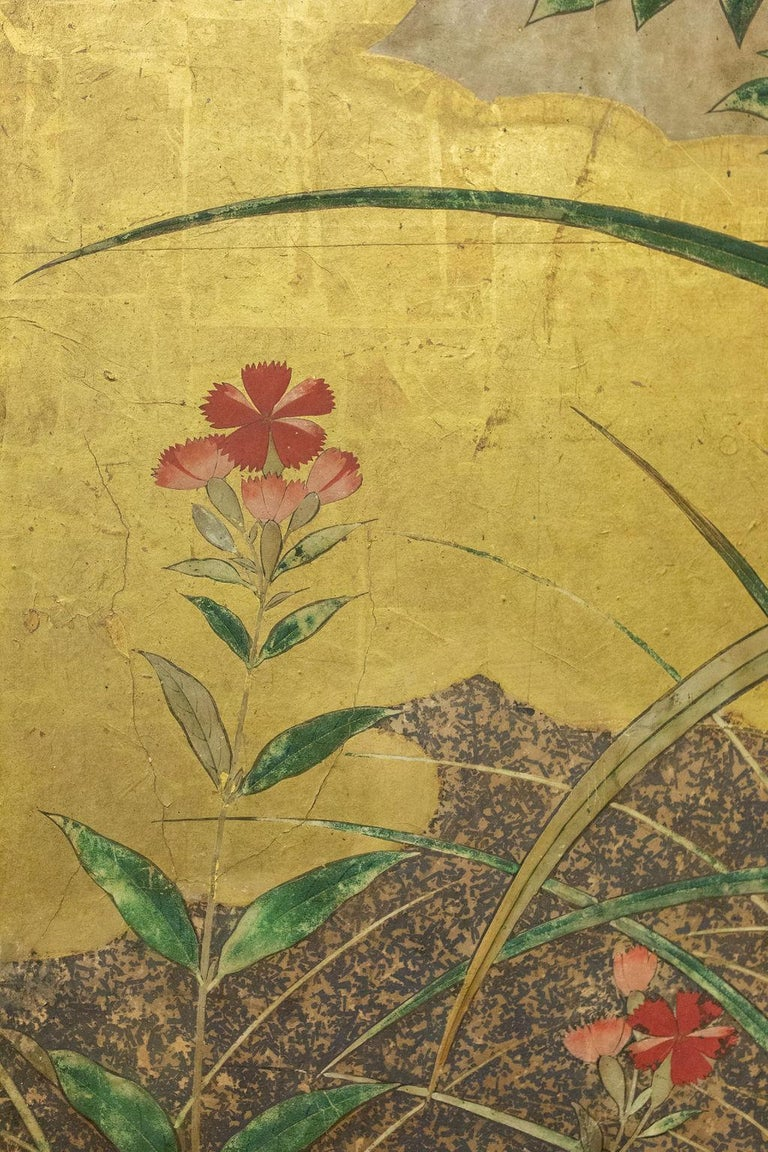 Japanese Six-Panel Screen Winter Into Spring For Sale 2