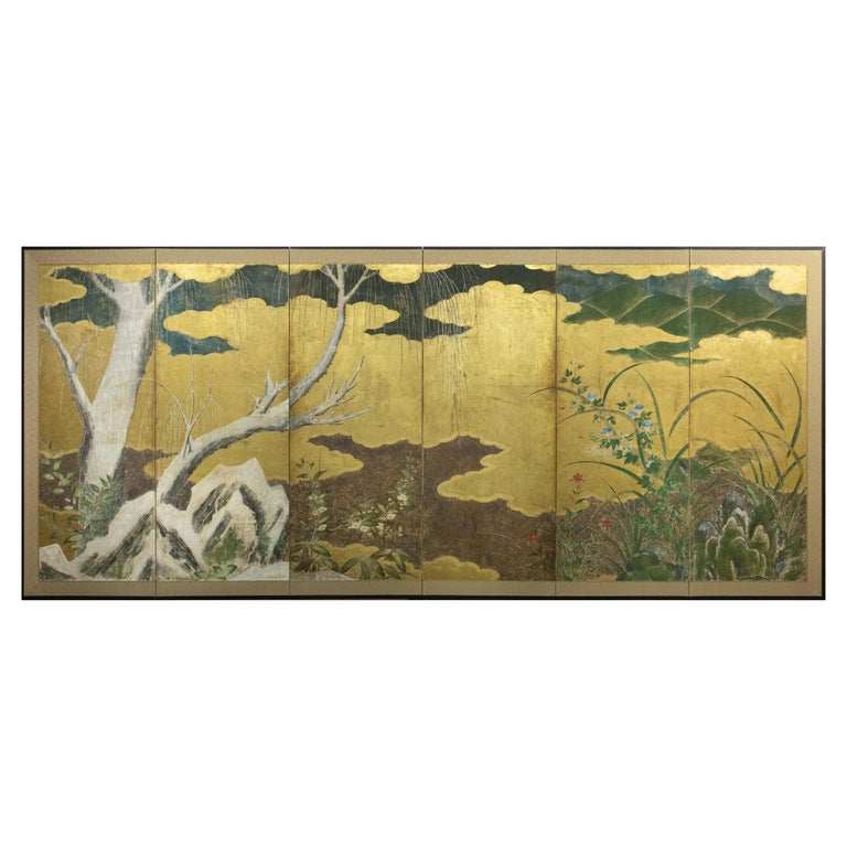 Japanese Six-Panel Screen Winter Into Spring For Sale