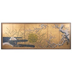 Japanese Six-Panel Screen, Winter Landscape with Flowering Plum