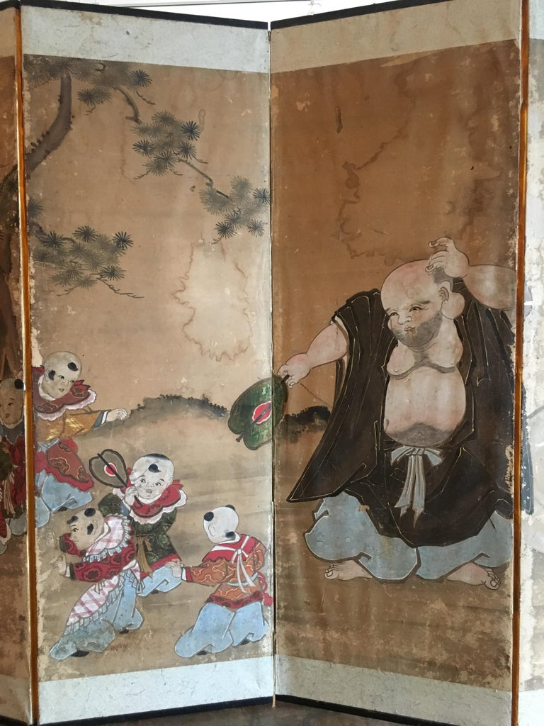 Hand-Painted Japanese Six Panel Screen with Hotei, Edo Period, Early 19th Century For Sale