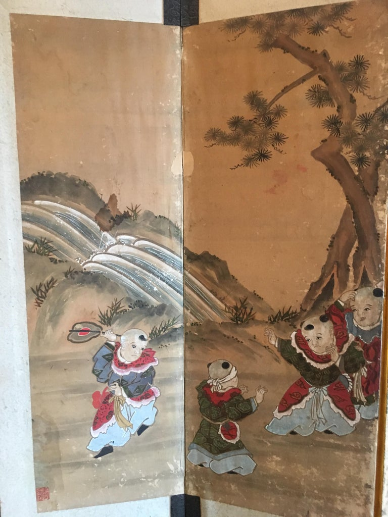 Japanese Six Panel Screen with Hotei, Edo Period, Early 19th Century In Fair Condition For Sale In Austin, TX