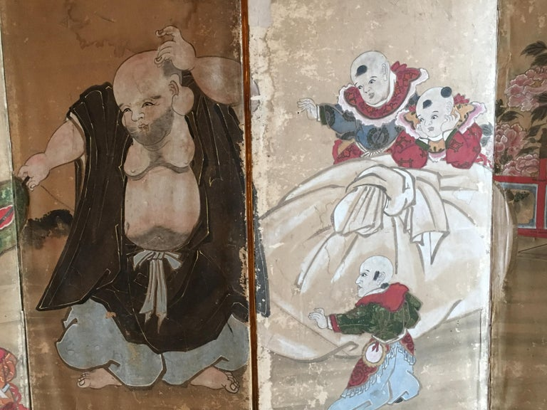 Silk Japanese Six Panel Screen with Hotei, Edo Period, Early 19th Century For Sale