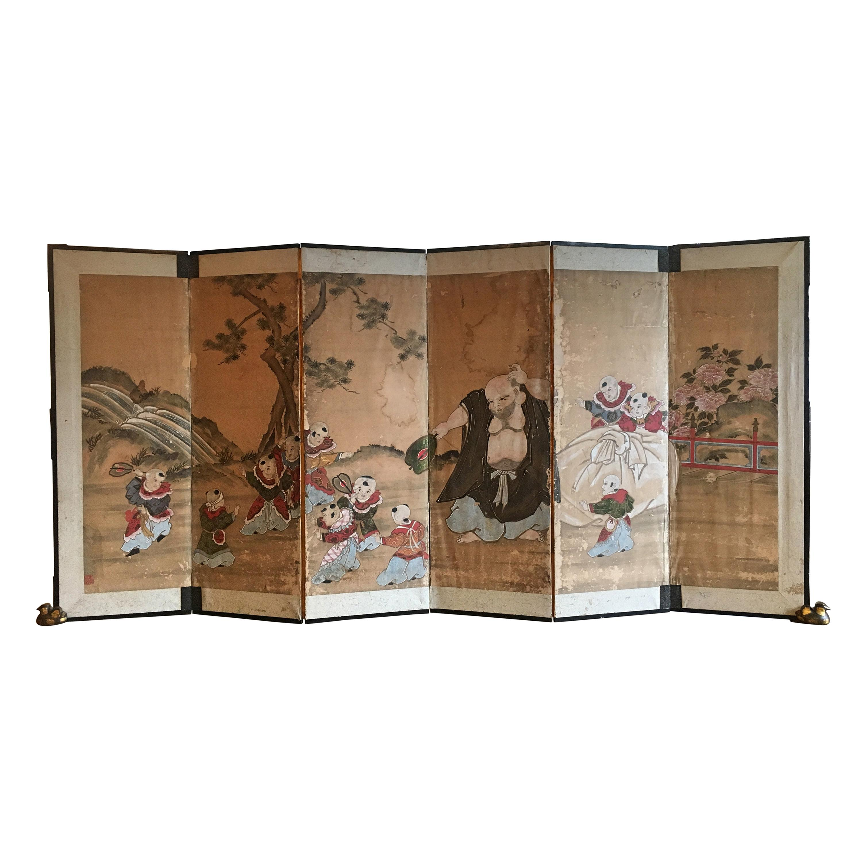 Japanese Six Panel Screen with Hotei, Edo Period, Early 19th Century