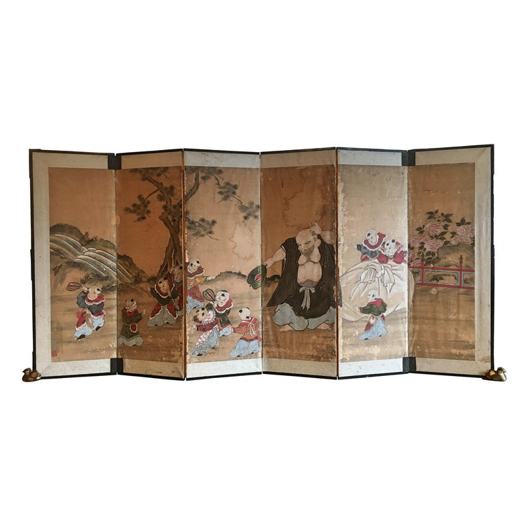 Japanese Six Panel Screen with Hotei, Edo Period, Early 19th Century For Sale