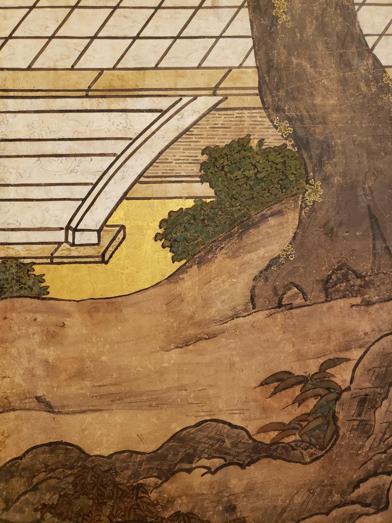 Japanese Six-Panel Screen Women of the Court in the Garden For Sale 5