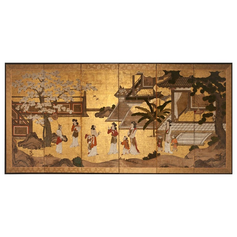 Japanese six-panel screen: Women of the Court in the Garden. Edo period (circa 1700) painting of an early Kano school subject matter: nobility socializing in a coutryard garden. Details of finery are painted throughout, including a screen that is