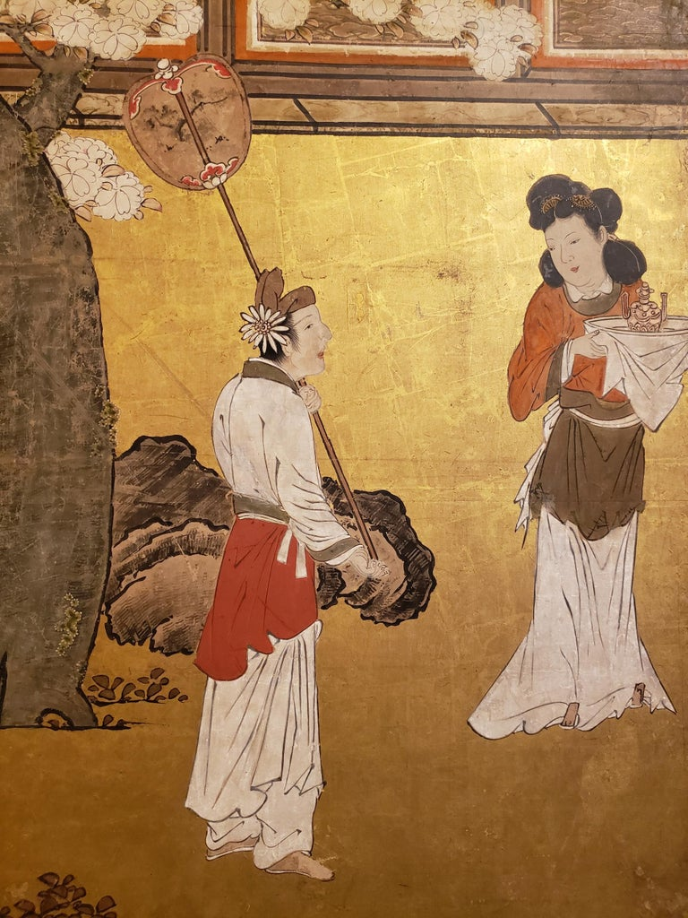 Edo Japanese Six-Panel Screen Women of the Court in the Garden For Sale