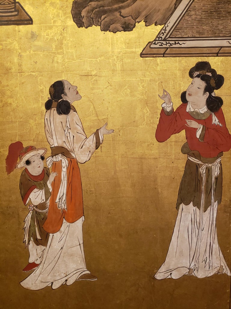 Japanese Six-Panel Screen Women of the Court in the Garden In Good Condition For Sale In Hudson, NY