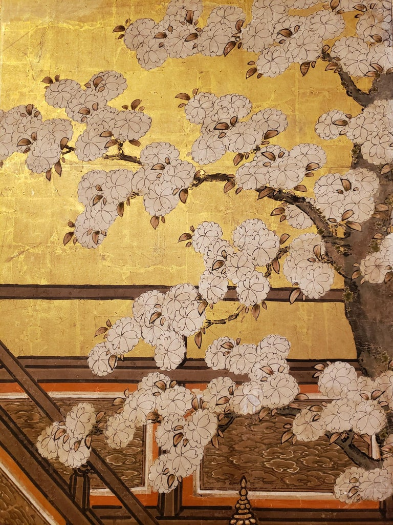 Early 18th Century Japanese Six-Panel Screen Women of the Court in the Garden For Sale