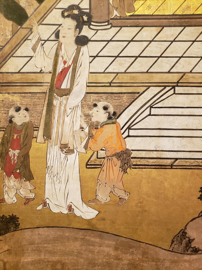 Japanese Six-Panel Screen Women of the Court in the Garden For Sale 1