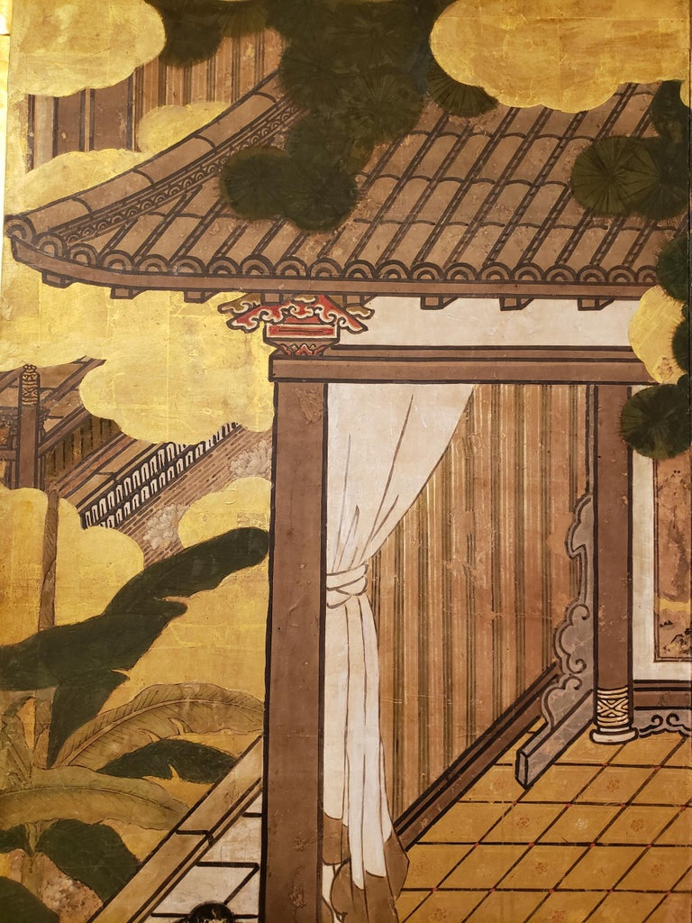Japanese Six-Panel Screen Women of the Court in the Garden For Sale 2