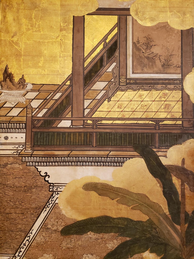 Japanese Six-Panel Screen Women of the Court in the Garden For Sale 3