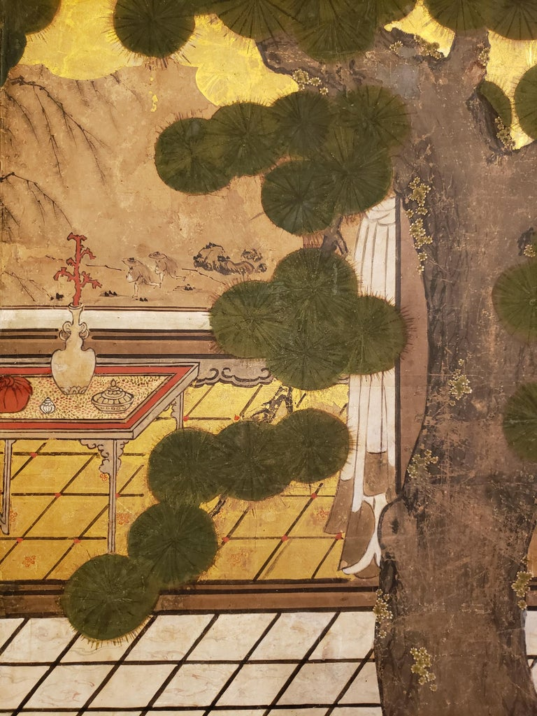 Japanese Six-Panel Screen Women of the Court in the Garden For Sale 4