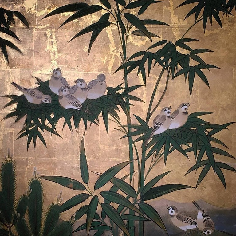 Japanese Six-Panel Screen, Sparrows and the Three Friends of Winter, circa 1800 For Sale 4