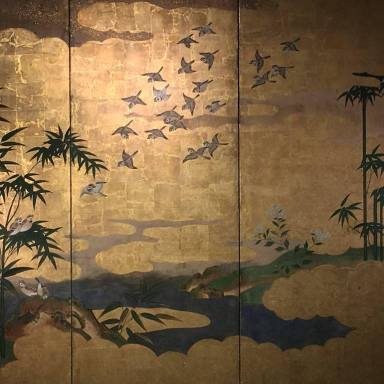 Japanese Six-Panel Screen, Sparrows and the Three Friends of Winter, circa 1800 For Sale 6