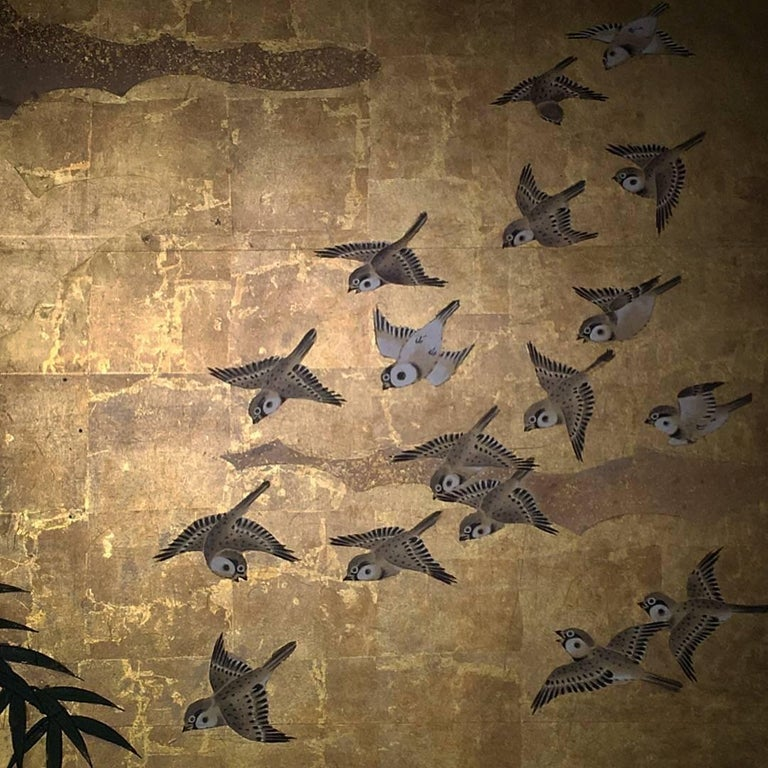 Japanese Six-Panel Screen, Sparrows and the Three Friends of Winter, circa 1800 For Sale 7