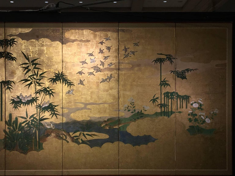 Edo Japanese Six-Panel Screen, Sparrows and the Three Friends of Winter, circa 1800 For Sale