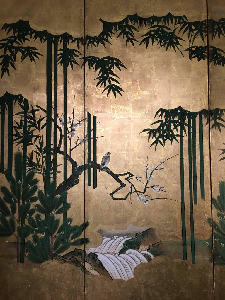 Hand-Painted Japanese Six-Panel Screen, Sparrows and the Three Friends of Winter, circa 1800 For Sale