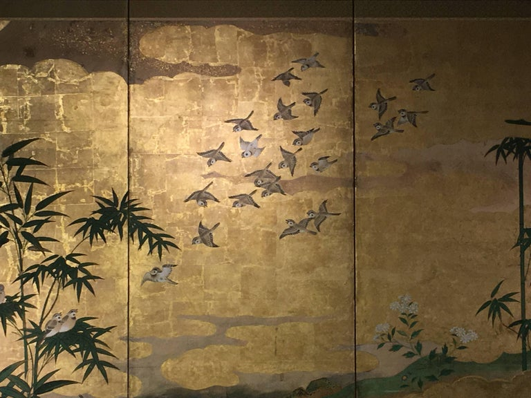 Japanese Six-Panel Screen, Sparrows and the Three Friends of Winter, circa 1800 In Good Condition For Sale In Austin, TX