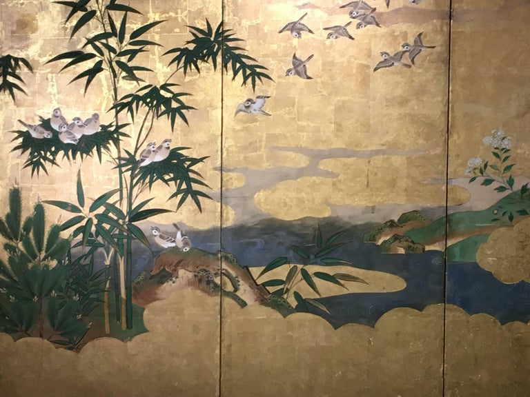 19th Century Japanese Six-Panel Screen, Sparrows and the Three Friends of Winter, circa 1800 For Sale