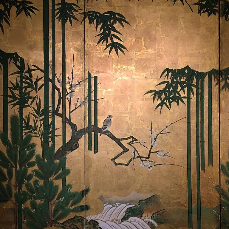 Paper Japanese Six-Panel Screen, Sparrows and the Three Friends of Winter, circa 1800 For Sale
