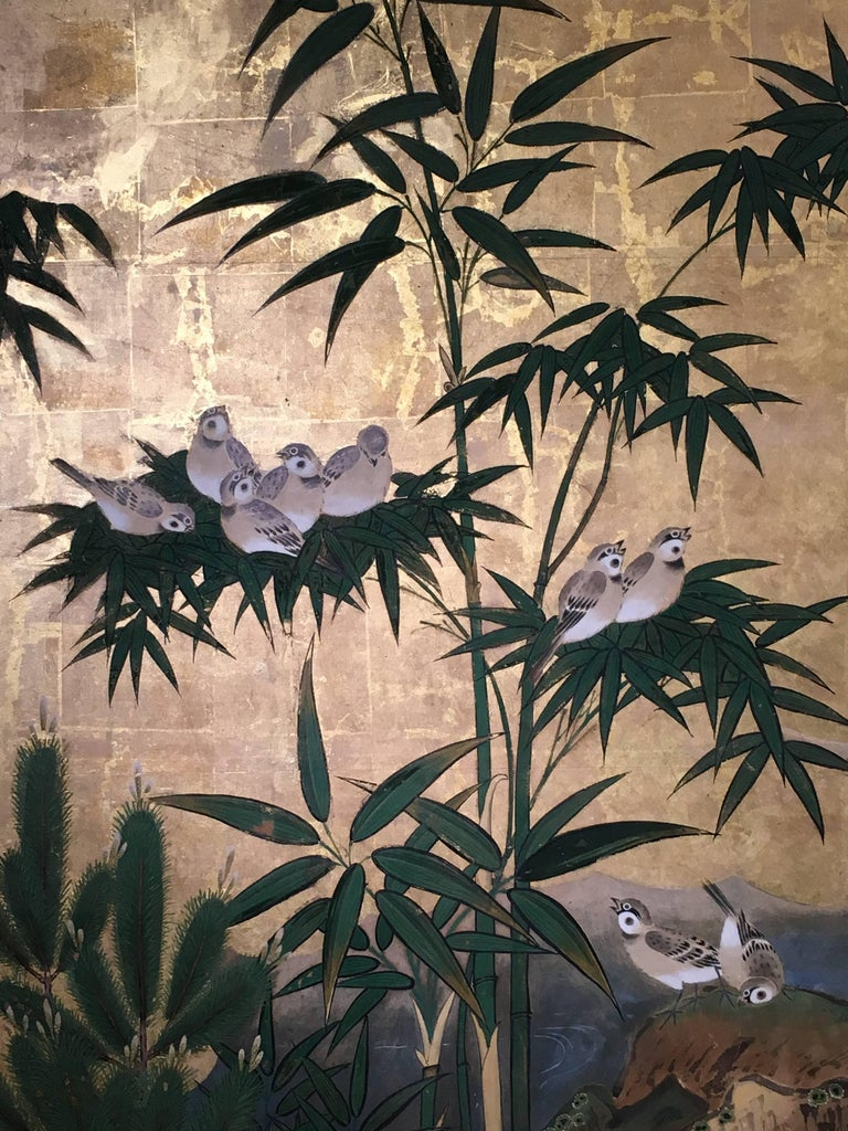 Japanese Six-Panel Screen, Sparrows and the Three Friends of Winter, circa 1800 For Sale 1