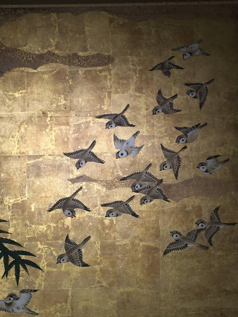 Japanese Six-Panel Screen, Sparrows and the Three Friends of Winter, circa 1800 For Sale 2