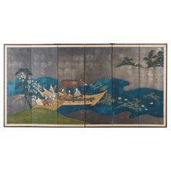 Japanese Six-Panel Showa Screen Tales of Genji