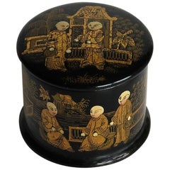 Japanese Small Black Lacquered Box Hand Enamelled and Gilded, Meiji Period