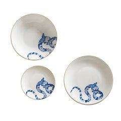 Japanese Snake Set of Three Limoges Porcelain Dishes